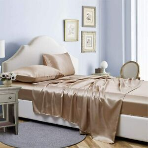AiMay 4 Piece Twin Size Bed Sheet Pillowcases Set Deep Pocket Luxury Rich Silk S