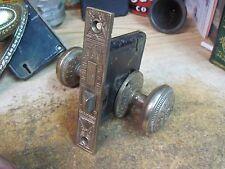 antique BRASS door knobs SET FANCY LOCK PLATE ROSETTS 1800'S VICTORIAN  EASTLAKE