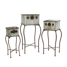 Set of 3 Galvanized Metal Garden Planters Antique-Style Plant Holders w/ Stands