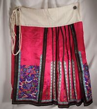 Chinese Red Silk Embroidered Panel Apron Skirt      47901