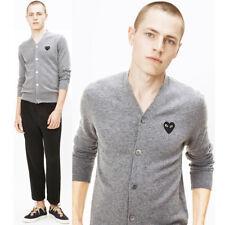 MENs Comme Des Garcons CDG Play Black Heart Cardigan Sweater Grey Wool V-Neck M