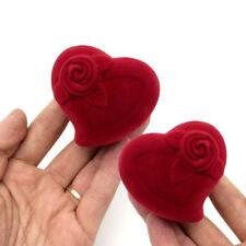 Red Love Heart Velvet Flocked Ring Gift Box for Engagement Wedding Proposal D5C
