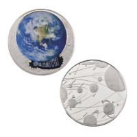 WR 2018 Colored Silver the Earth Coin Solar System Planet Collector item Gifts