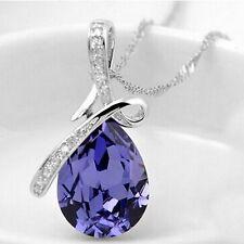 New Silver Alloy & Amethyst Crystal Angel Tear Drop Women's Pendant Necklace