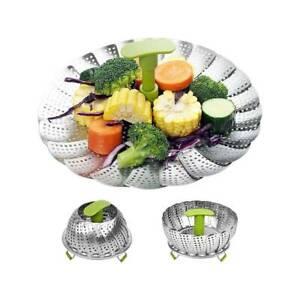 Folding Vegetable Egg Fruit Mesh Steamer Cook Poacher Food Basket Stainless