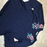 B-615 Denim & Co V-neck embroidered textured long sleeve tee NAVY size L