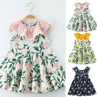 Toddler Baby Kids Girls Floral Sleeveless Tassels Party Princess Dresses Clothes