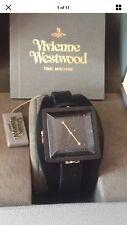 Vivienne Westwood black leather cuff watch , lady Cube watch