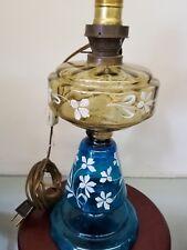 ANTIQUE VICTORIAN BOHEMIAN GLASS YELLOW BLUE enamel floral oil lamp