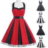 Polka Dots Swing Pin Up 50s Retro Vintage Mini Cocktail Halter Dress Short Party