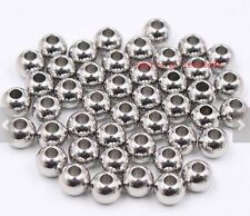 50pcs in bulk stainless steel silver 6mm Loose beads Jewelry Marking 2.1mm Hole