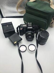 Minolta Maxxum 5000 35mm SLR Film Camera Lot 35-70mm Lens 80-200mm Lens Flash