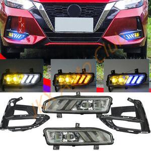 For Nissan Sentra 2020-2021 Front Bezel LED DRL Daytime Running Light Fog Lamp