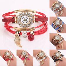 Women's Fashion Crystal Gem PU Leather Quartz Watch Ladies Bracelet Wrist Gifts