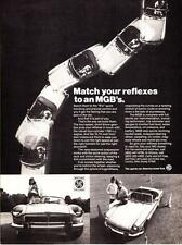 "1974 MG MGB Convertible photo ""Match Your Reflexes"" vintage print ad"