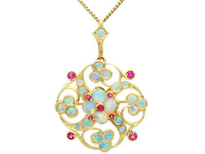 Antique 2.24ct Opal and 0.31ct Ruby, 15k Yellow Gold Pendant / Brooch