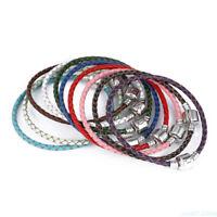 Fashion Women Men jewelry Silver Bead Braid Rope Leather Bangle Bracelet Cuff FT