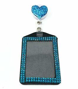 Heart Retractable Reel swivel Clip 2 in 1 Full Bling Vertical ID Badge Holder