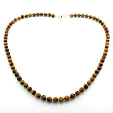 Necklace natural tiger eye gemstone beaded 925 solid sterling silver 18 gram