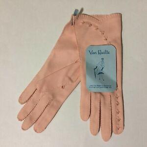 "9"" Van Raalte Women's 6 1/2 New/Old Stock Pale Pink/Salmon Formal Gloves"