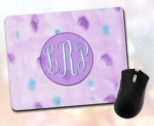 Custom ~ Monogram, Initials, Watercolor, Purple, Teal, Bright ~ Vivid Mouse Pad
