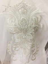 Beaded Embroidery Lace Trim Silver Corded Motif Wedding Lace Applique 1 Piece