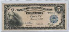 1933 Bank of the Philippine Islands 5 Pesos Note Serial # E286895E