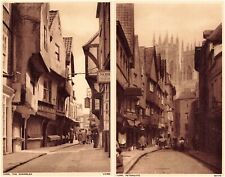 More details for 1940s york real photo postcards set of 2 - photochrom petergate & shambles.