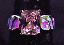 Sterling 925 Silver SF Size 10 Ring Pink Lab Fire Opal & 9*7mm Pink Sapphire