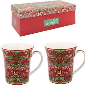 Strawberry Thief China Mugs Gift Set of 2 William Morris Present Boxed Pair Mum