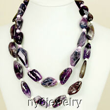 """Graceful! 2 strands Purple Amethyst Nugget Necklace with Silver Tone Toggle 20"""""""