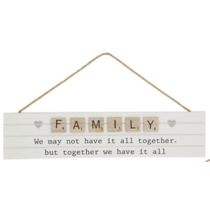 1pce 35cm White Hanging Family Inspirational Plaque Together Natural Boho