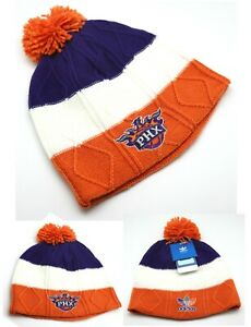 Phoenix Suns New Adidas Woman Ladies Pom Purple Orange Beanie Knit Era Hat Cap