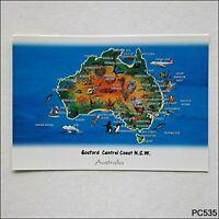 Gosford Central Coast NSW Australian Tourist Map Sarah Willacy Postcard (P535)