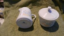 CORELLE COUNTRY CORNFLOWER CREAMER PITCHER & SUGAR BOWL WITH LID FREE USA SHIP
