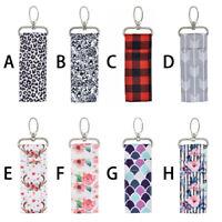 Women's Lipstick Holder Keychain Lip Balm Chapstick Small Pouch Key Ring Bags