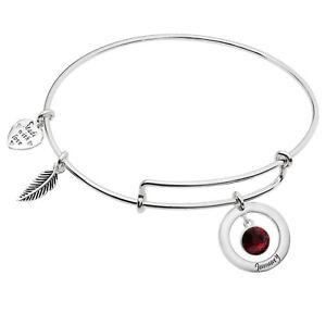 Sterling Silver Imitation Birthstone Month Charm Bangle Adjustable Bracelet Gift