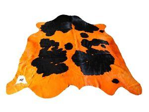"""Orange & Black Cowhide Rug - (Size: 6'x6'11"""" Ft) - Top Quality Cowhide Rug"""