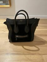 CELINE Large  Luggage Tote Bag Black Leather Suede