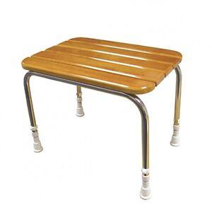 Luxury Polished AKW Adjustable Height Wooden Slatted Shower Seat Bathroom Stool