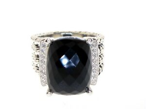 DAVID YURMAN WHEATON 16 X 12 ONYX DIAMOND STERLING SILVER RING SIZE 5.5