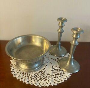 "Vintage Woodbury Pewter Pedestal Fruit Bowl with 8"" Candlesticks"