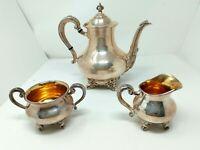Vintage Reed & Barton Regent 5600 Silverplate 3 Piece Tea Set w/ Creamer + Sugar