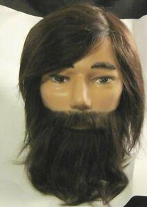 Pivot-Point Samuel Bearded Educational Mannequin Head with Human Hair