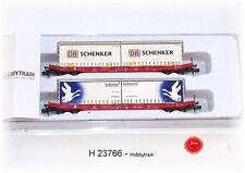 Hobbytrain  23766  - 2er Set Containertragwagen Bauart Sgkkms 689 der DB AG,