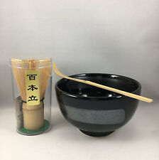 Japanese Ginsugi Matcha Cup Bowl w/ Bamboo Scoop & 100 Whisk Tea Ceremony Set
