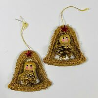 Vintage Pinecone Angel in Bell Shape Christmas Ornaments Lot of 2 Made in Japan