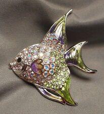 Swarovski Angel Fish Brooch Pin Aurora Borealis Rhinestone Pave w Enameled Fins