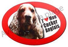 """Magnet chien """"J'aime mon Cocker Anglais Spaniel"""" frigo/voiture idée cadeau NEUF"""