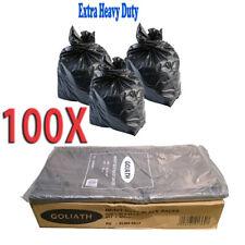100X HEAVY DUTY BLACK 22x34x47 250g REFUSE STRONG RUBBISH BAGS BIN GOLIATH